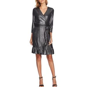 New cece silver black metallic wrap mini dress sm